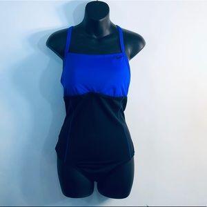 Nike~ Black & Blue bathing suit sz L